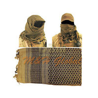 Military Tactical Shemagh Keffiyeh Scarf Head Neck Face Wrap - Tan Black