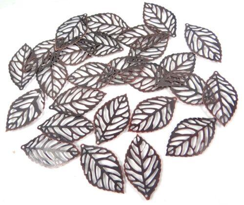 20 Antiqued Copper Filigree Leaf Stamp Focal Pendant 35x20mm
