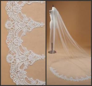 New-White-ivory-1T-Cathedral-Lace-Edge-Elegant-Long-Wedding-Bridal-Veil