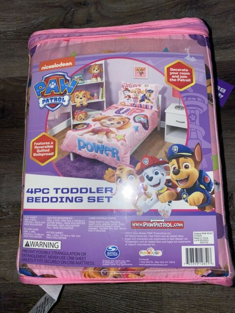 Paw Patrol 4-Piece Bedding Sheet Set Toddler Flat Fitted Pillow Cases Bedspread
