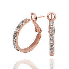 18K Rose Gold GP Crystal Circle Ring Loop Ear Stud Earrings Earbob Jewelry#E389