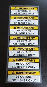 Warning Label 93 or Higher Octane Gas Gasoline Fuel Tank Sticker Decal