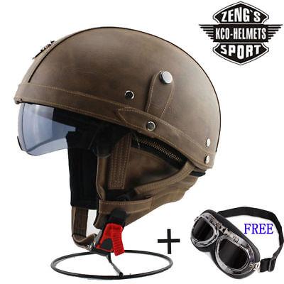 Motorcycle Helmet Open Face 3//4 Deluxe Leather Retro Pilot Goggles Street Bike
