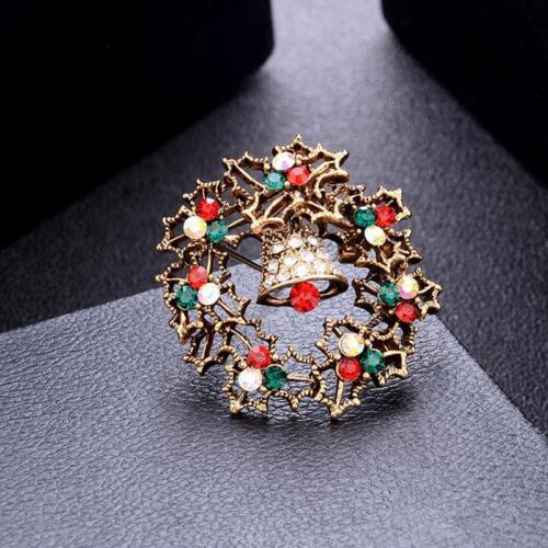 Brooch Enamel Gorgeous Rhinestone Crystal Christmas Tree Pin Holiday Gift DD