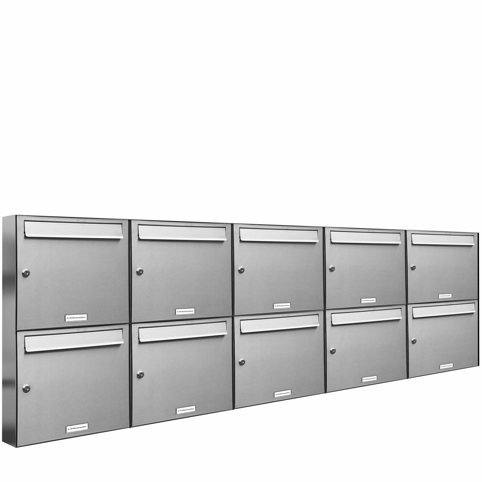 10 er Premium Edelstahl Wand Briefkasten Anlage A4 Postkasten Fach Anordng. 5x2