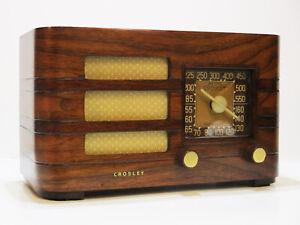 Old-Antique-Wood-Crosley-Vintage-Tube-Radio-Restored-Working-Art-Deco-Table-Top