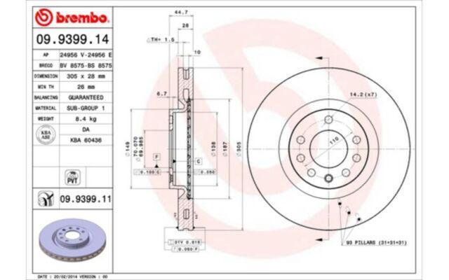 2x BREMBO Discos de freno delanteros Ventilado 305mm Para FIAT CROMA 09.9399.11