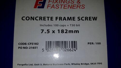 Vis béton fenêtre Frame porte fixations maçonnerie boite de 100