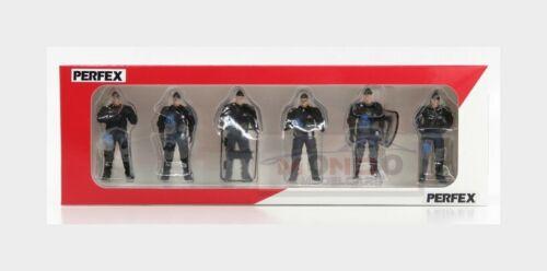 Figures Set 5X Police Gendarmes Mobiles Black Blue PERFEX 1:43 PE718