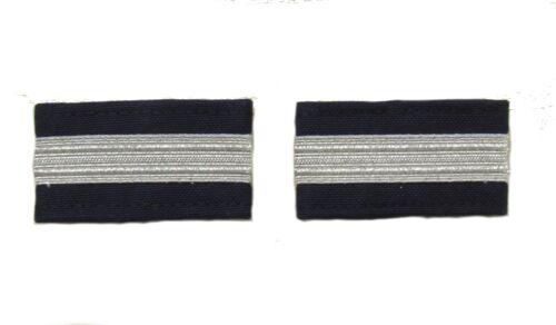 Epaulette Airline Pilot Captain First Officer Silver Mylar Bar Navy Blue R1718