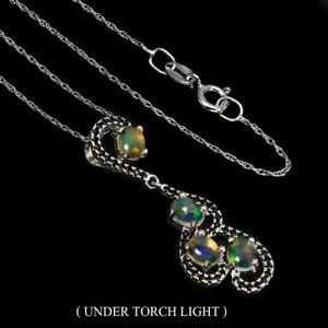 Unheated-Oval-Fire-Opal-Rainbow-5x4mm-Black-Spinel-925-Sterling-Silver-Necklace