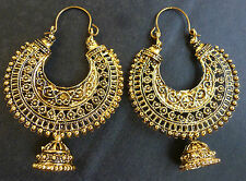 Vintage Antique Gold Plated Ring Jhumka Jhumki Earrings Indian Jewelry 2.5 cm