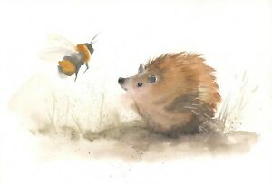 HEDGEHOG-Signed-Limited-Edition-A4-PRINT-of-Watercolour-Painting-by-Diane-Antone