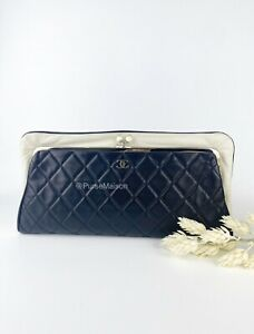 Chanel CC Kiss-Lock Large Clutch Quilted Lambskin