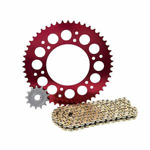 Primary-Drive-Alloy-Kit-amp-Gold-X-Ring-Chain-Red-Rear-Sprocket