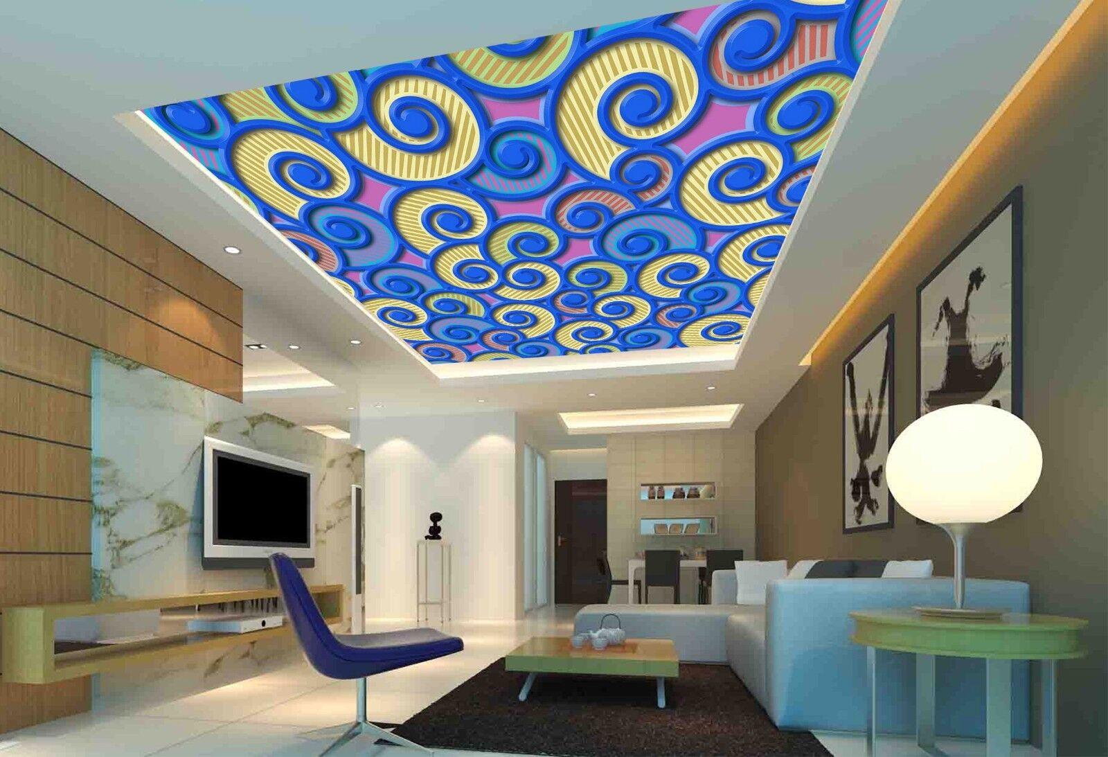 3D bluee Totem Art 41 Ceiling Wall Paper Print Wall Indoor Wall Murals CA Jenny