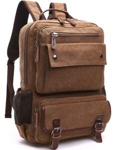 9446c3e954 Image is loading Aidonger-Canvas-School-Bag-Laptop-Backpack-Hiking-Rucksack-