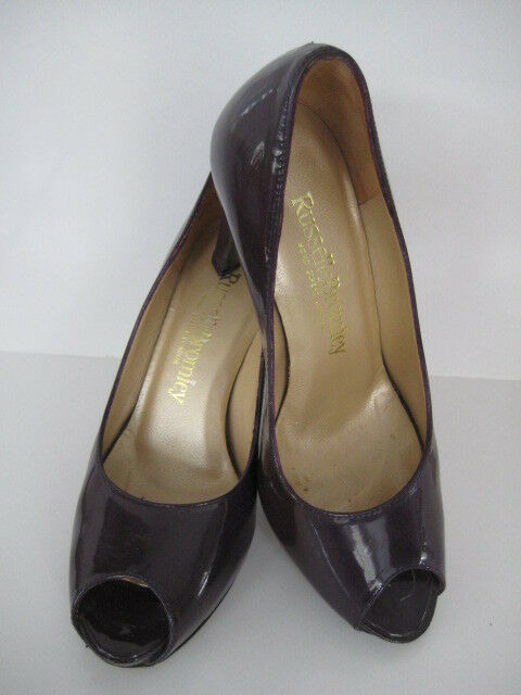RUSSELL & BROMLEY LADIES AUBERGINE DARK violet PATENT LEATHER PEEP TOE chaussures