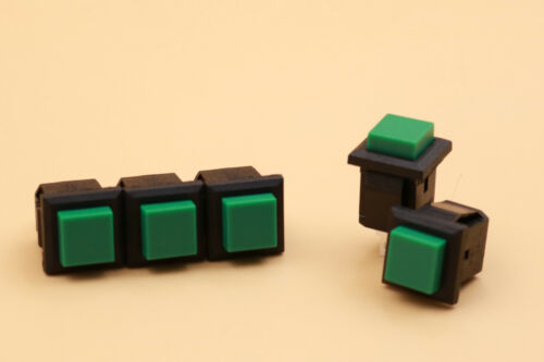 5Pcs Verde Momentáneo Square Off-mamá 14mm Botón Interruptor 3A/125VAC solo tiro unipolar