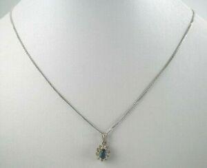reizende-925er-Silber-Halskette-amp-800er-Silber-Anhaenger-Saphir-Vintage-2-98g