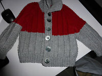 WOOL HAND KNITTED CHILDS CARDIGAN AGE 3/4