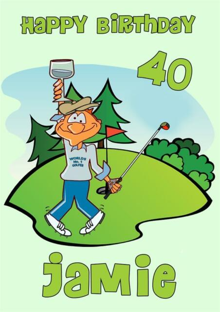 PERSONALISED FUNNY HUMOROUS GOLF GOLFER BIRTHDAY CARD