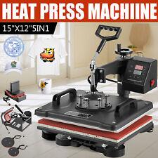 5 In 1 Combo T Shirt Heat Press Transfer 15x12 Printing Machine Swing Away