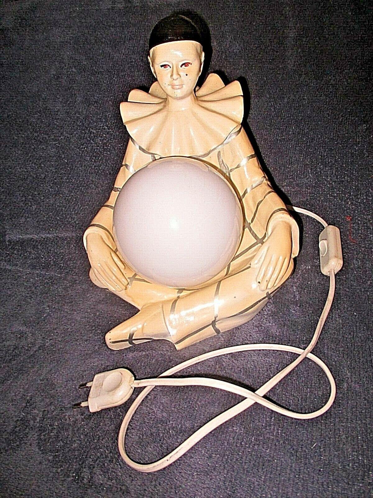 PIERROT crème-Silber-ancien pied de lampe électrifié-céramique-vintage 1970-1980