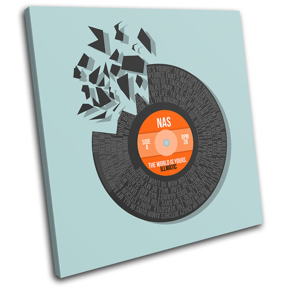 NAS The World Vinyl Record Song Lyrics Canvas Wall Art Picture Print