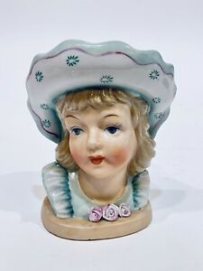 Vintage Lady Head Vase Young Girl Aqua Green Bonnet Roses Japan Napco? Relpo?