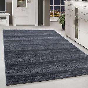 Moderner-Kurzflor-Teppich-Einfarbig-Streifen-Gemustert-Grau-Meliert-Wohnzimmer