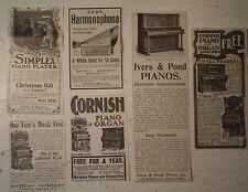 ZOBO HARMONOPHONE HARMONICA Cornish PIANO ORGAN  Ivers & Pond OLD   1902 ADS