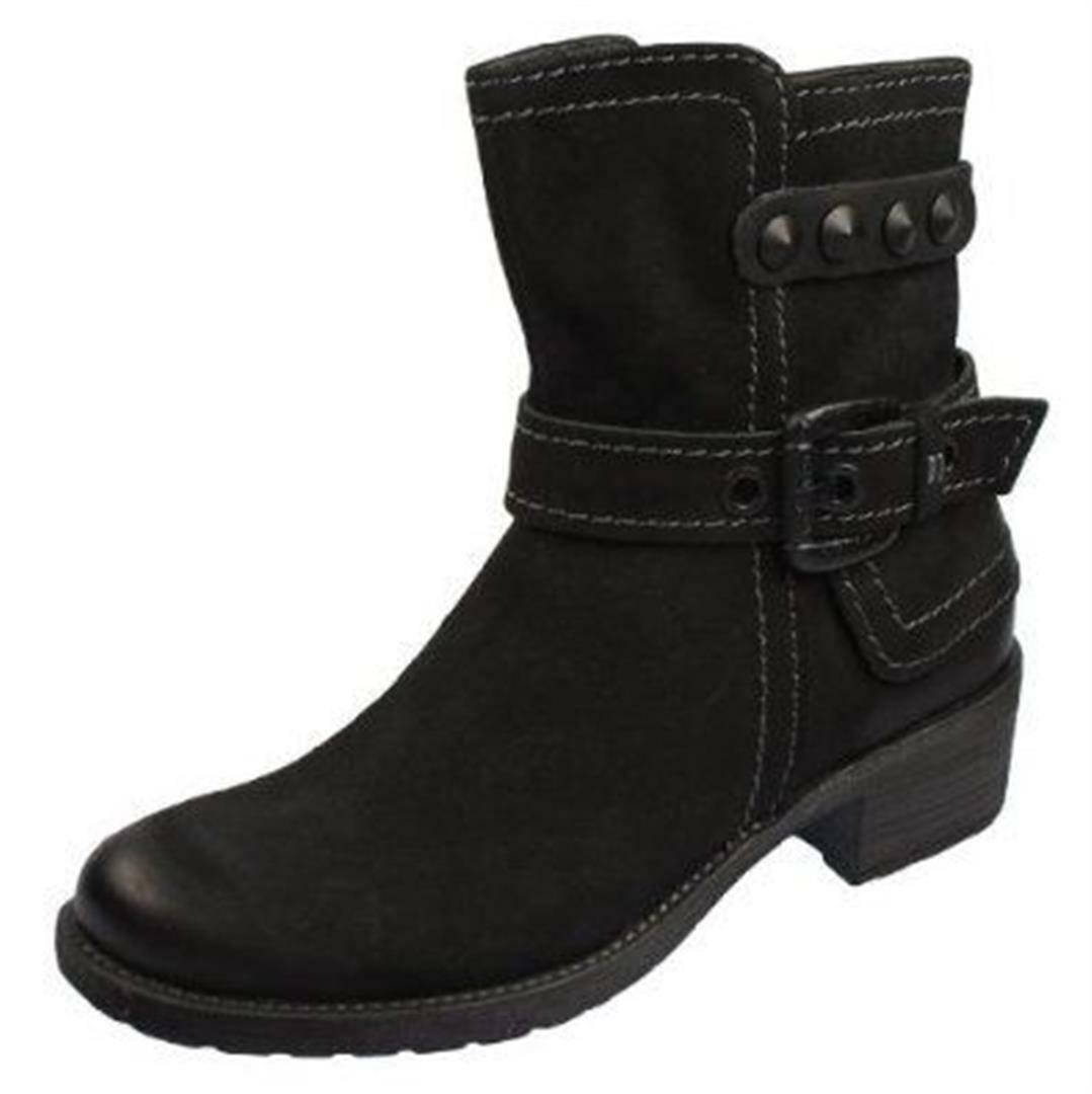 Ladies Black Leather Ankle Womens Flat Boots Buckles NEW