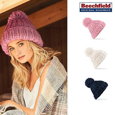Beechfield Oversize Hand Knitted Beanie-lusso Caldo Inverno Cappello Con Pon Pon-mostra Il Titolo Originale