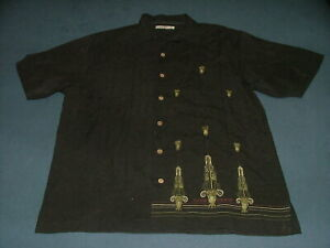 Men-039-s-Tommy-Bahama-Embroidered-Black-Hawaiian-ShortSleeve-Shirt-Medium-100-Silk