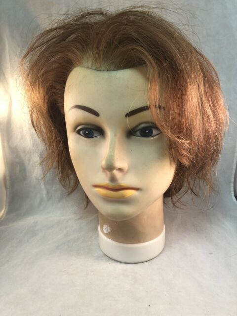 Vintage Burmax Female Blue Eyed Mannequin Head Wig Hat Form Stand