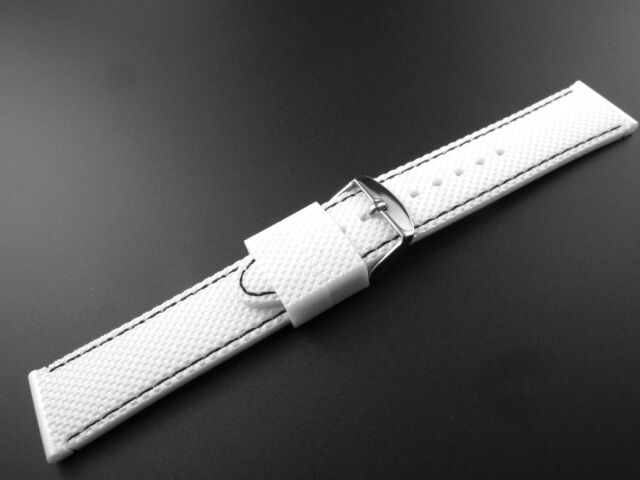 22mm Wristband strap Watch bands Silicon Rubber diving strap pearl white parts