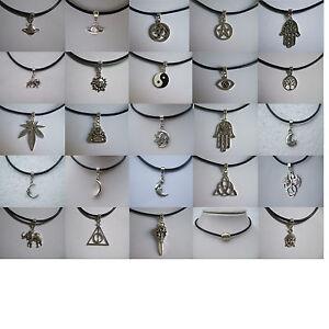 Vintage-Silver-Leather-Cord-Choker-Necklace-Elephant-Hamsa-Hand-Sun-Moon-90s-80s