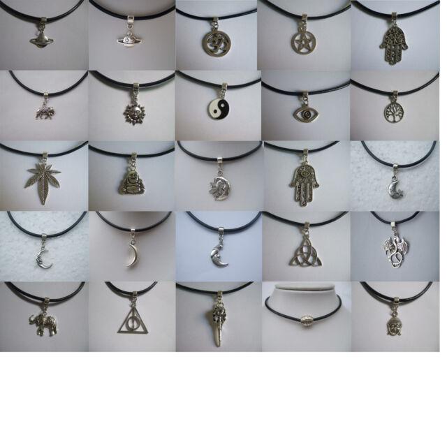 Vintage Silver Leather Cord Choker Necklace Elephant Hamsa Hand Sun Moon 90s 80s