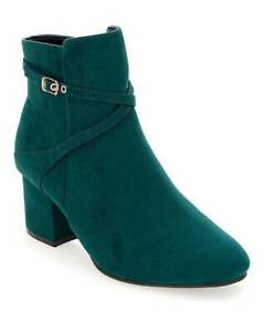 WOMENS-TEAL-EXTRA-WIDE-FIT-EEE-ANKLE-BOOTS-LOW-HEEL-ZIP-UP-COMFY-SHOES-UK-4-9