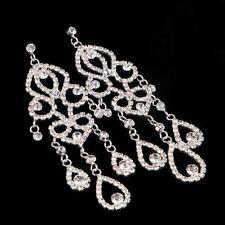 Wedding Teardrop Earring Rhinestone Chandelier Clear Crystal Bridal Earrings