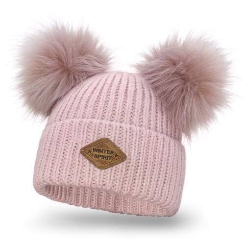 Damen Winter Mütze Strickmütze Wintermütze mit Zwei Bommel Bommelmütze