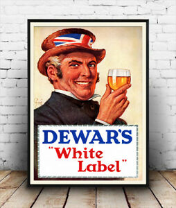 Image Is Loading Dewars White Label Vintage Alcohol Advertising Poster Reproduction