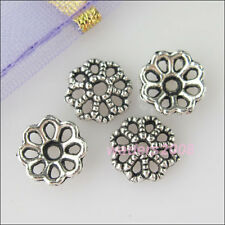 70 New Silver Tone Hollow Flower Bead End Caps for DIY Crafts 7.5mm