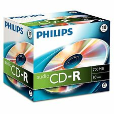 Philips Audio CD-R 700MB 80min 10pk Jewel Case Storage Pictures Music New
