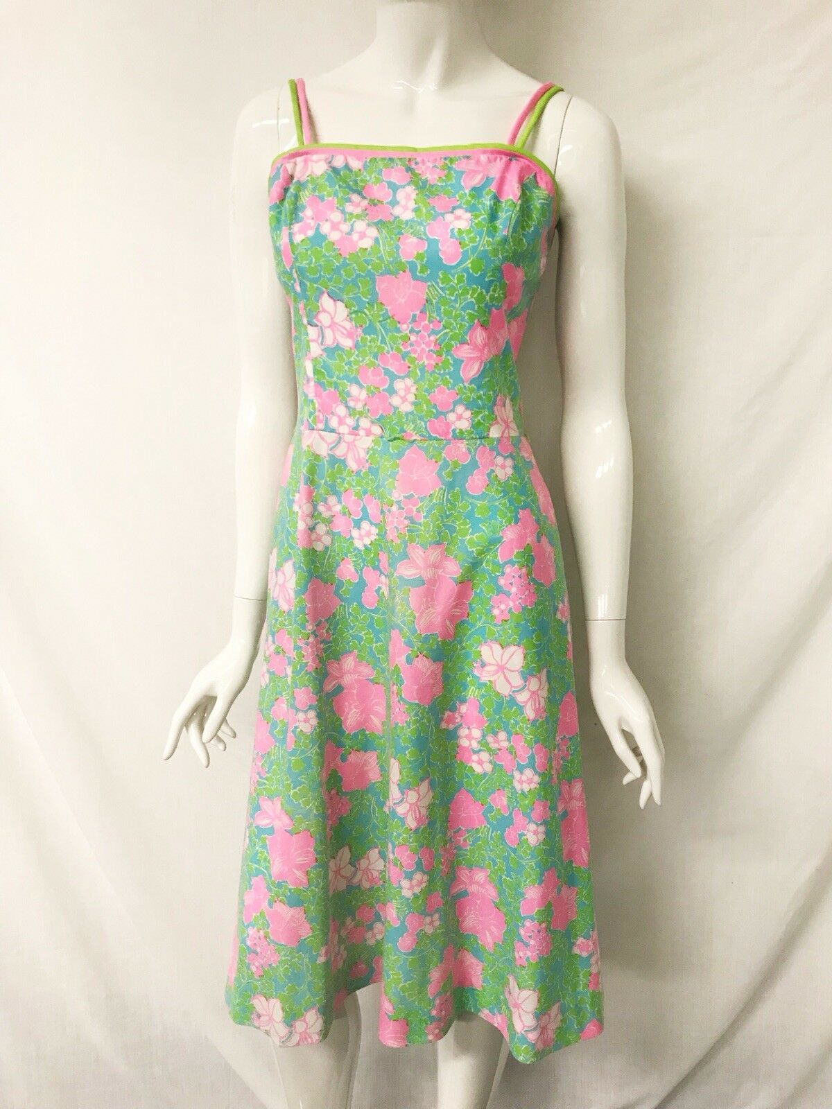 The LILLY PULITZER 60s 70s Pink Green Floral Double Strap Midi Dress Size M