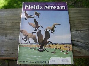 Field & Stream January 1949 Lynn Bouge Hunt Canada Geese Cover Vintage Magazine
