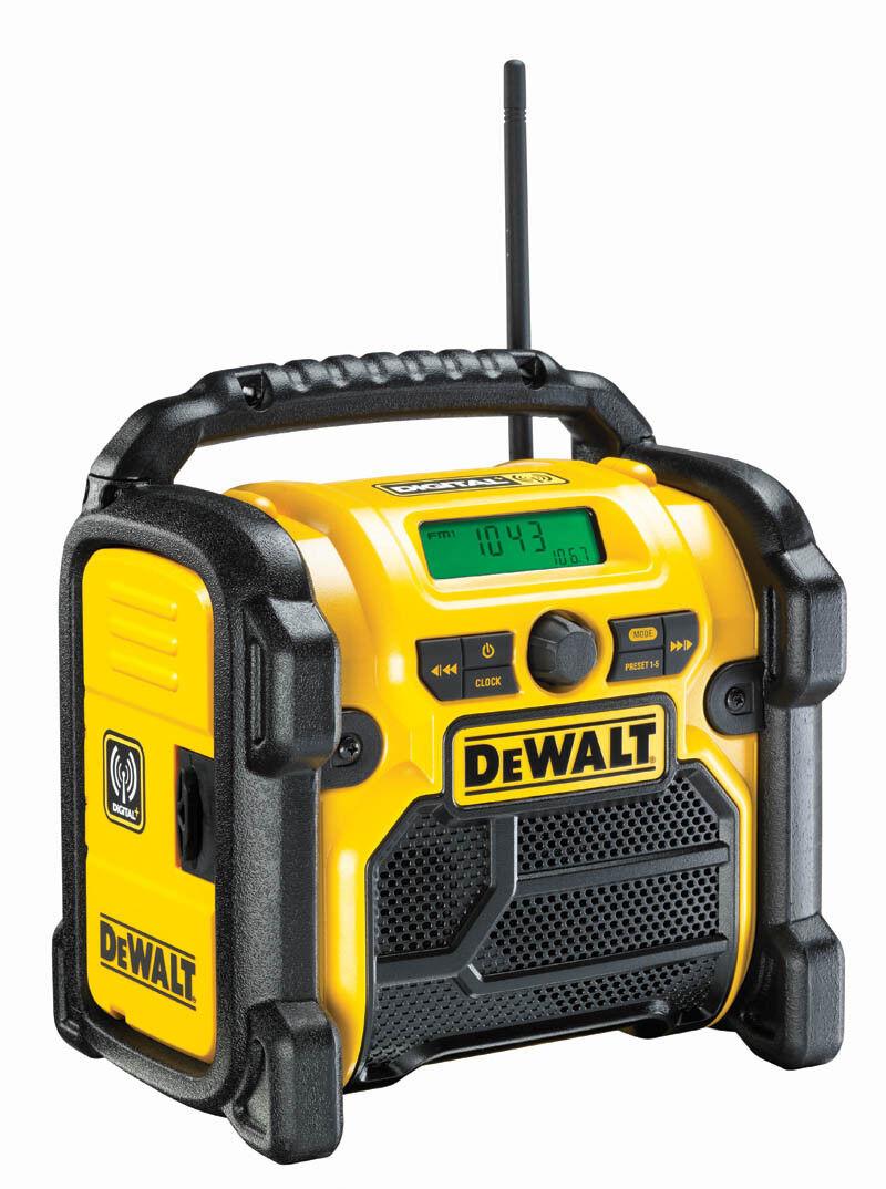DEWALT Radio DCR020 mit DAB+ 10,8 - 18 V Akku- Netz Radio mit Antenne, AUX, USB