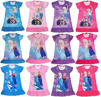 NEW HOT Style Frozen Princess Elsa Anna Girls Kids Pyjama Nightie Dress 3-10Y