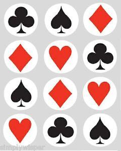 Cake Decoration Playing Cards : 12 Playing Cards Poker Cupcake Decoration Edible Cake ...